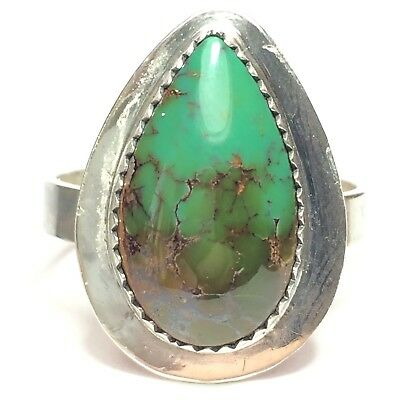 37 Ct Tw Natural Royston Turquoise Sterling Silver Handmade MenS Ring Sz 13 🇺🇸