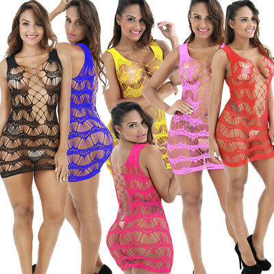 Women Thin Mesh Lingerie Fishnet BabyDoll Mini Dress Nightwear Hollow Out Suit L