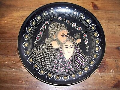 """Vintage Solid Brass Etched and Hand Painted 9-7/8"""" Plate.. Look!"""