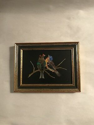 Detailed Victorian Micro Mosaic Plaque Of Two Love Birds