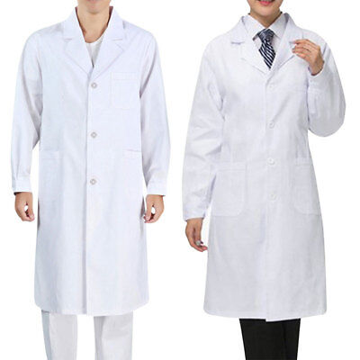 Women Men White Lab Coat Medical Unisex Doctor Coats Jackets Nursing Long S-2XL