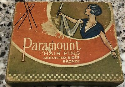 Vintage Box Hair Bobby Pins, PARAMOUNT, From 20s 30s The Owl Drug Co