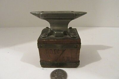 "RARE 1915 Miniature 3.25"" Anvil + Base Unique Dual Pointed Antique Vintage NR"
