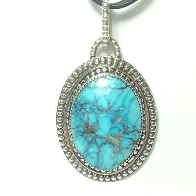 131 Ct Tw Untreated Kingman Turquoise Handmade Sterling Silver Jewelry Pendant