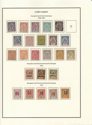 France Colonies Ivory Coast 1892-1900 on Page