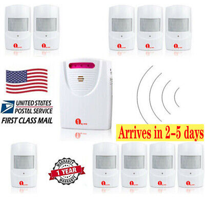 LED 328ft Wireless Driveway Alarm System Motion Detector + Adapter Home Security