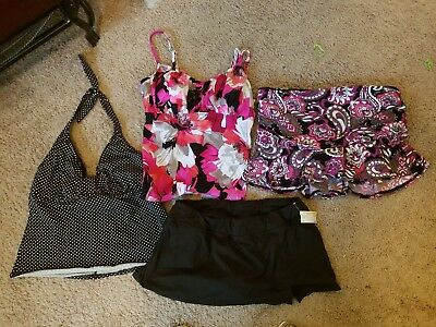 Lot of Four Mismatched Bathing Suits Tops and Bottoms Size Womens 10