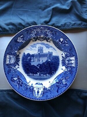 Wedgwood Blue And White Plate USA Military West Point 1933 -  On Post In Camp
