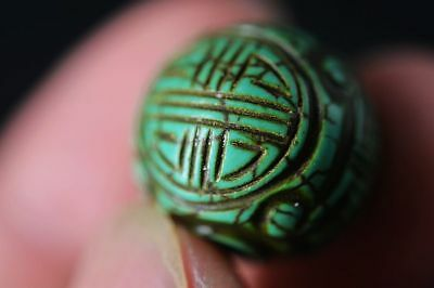 China Turquoise hand-carved longevity word round Bead