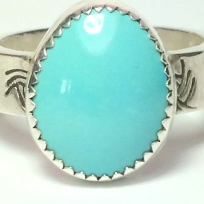 50 Ct Tw Natural Sleeping Beauty Turquoise Sterling Silver Men's Ring Sz 10.5 US