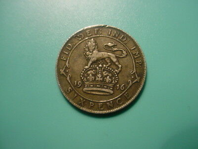 British 1916 Sixpence In As Shown Condition