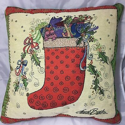 """Laurel Burch Christmas Stocking CAT Throw Pillow 18"""" Tapestry Candy Canes Gifts"""