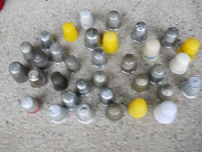 Lot Of 33 Vintage Sewing Thimbles