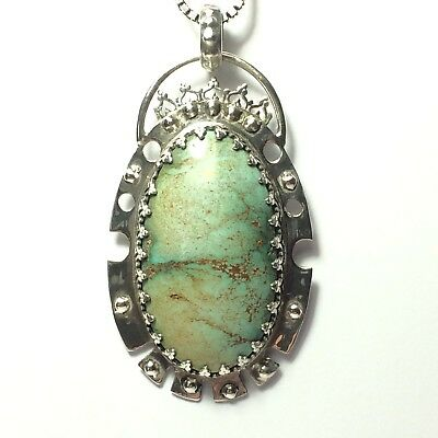 80 Ct Tw Natural Kingman Turquoise One Of A Kind Boho Style Jewelry 925 Pendant