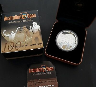 2005 Australia Cent Australian Tennis Open 1oz ( 99.9% ) Silver $1 Proof coin