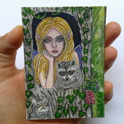 Elf girl raccoon cat ACEO kitten fairy fantasy tree hollow forest animal waterco