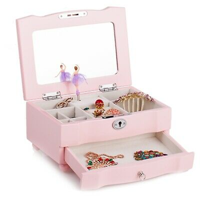 Vintage Ballerina Girl Kids Gift New Dancing Wooden Jewelry Musical Box Pink 25
