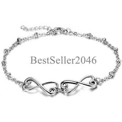 Women Infinity Love Bracelet Silver Tone Stainless Steel Adjustable Charm Bangle