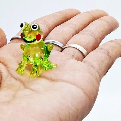 Frog Green Figurine Art Hand Blown Glass Animal Miniature Collectible Home Decor