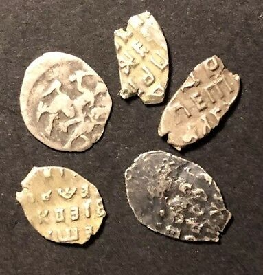 5 Old Antique 1700's Russian Silver Wire Money Coin Token Medal Money Invest
