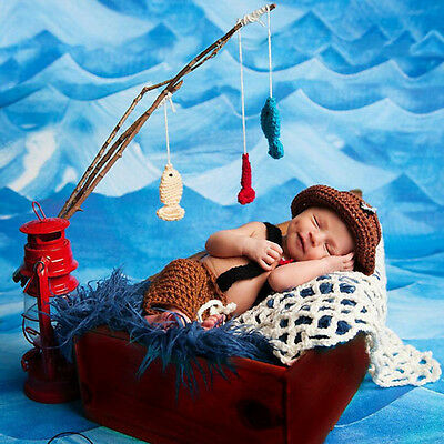 Newborn Baby Toddler Hat Caps Fish Crochet Knit Photography Fisherman Outfits