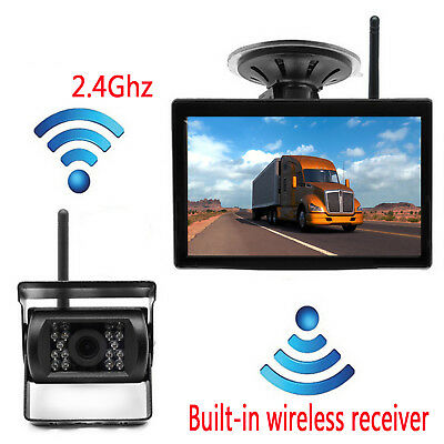 "5"" LCD Monitor Wireless Rear View Backup Camera Night Vision For RV Truck Bus"
