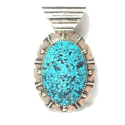 64 Ct Tw Natural Kingman Spider Web Turquoise Sterling Silver Pendant 🇺🇸 USA