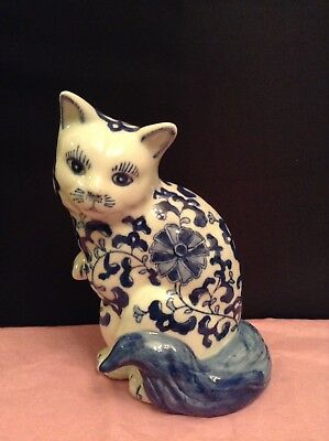 """Chinese Cobalt Blue and White 8"""" Tall Porcelain Vintage Figurine"""