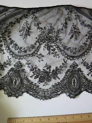 """Antique French Handmade Black Chantilly Lace Flounce c1870~L-12""""X W-51"""""""