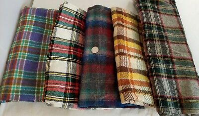 Vintage Wool Fabric Plaid LOT 3+ YARDS 5 Pieces