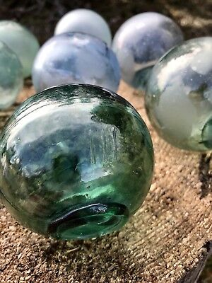-LOT OF 9- Authentic Vintage Japanese Glass Fishing Floats
