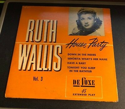 RUTH WALLIS House Party Volume 3 De Luxe EP #EP217 45 RPM 1950s Adult Comedy