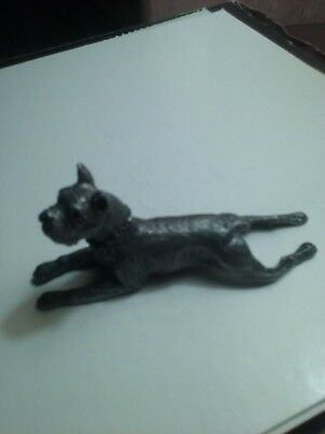 PEWTER DOG FIGURINE / PAPERWEIGHT BOXER laying down