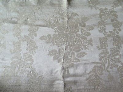 "Antique 1900 French Lyon Silk Sample Fabric~Rose & Bow Frame~L-24"" X W-35"""