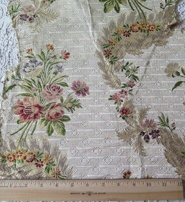 "Lovely Antique French c1780 18thC Silk Floral Brocade Fabric~L-19""X W-15"""