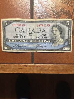 1954 Bank Of Canada Five 5 Dollar Devils Face Bank Note Circulated
