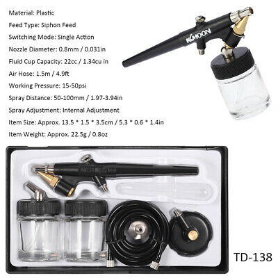 Siphon Feed Airbrush Single Action Air Brush Kit 0.8mm Spray Gun Paint Tool Y5Z5