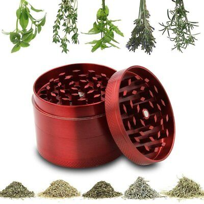 Metal Tobacco 4 Layers Crusher Smoke Herbal Herb Mill Grinder Hand Muller Red US