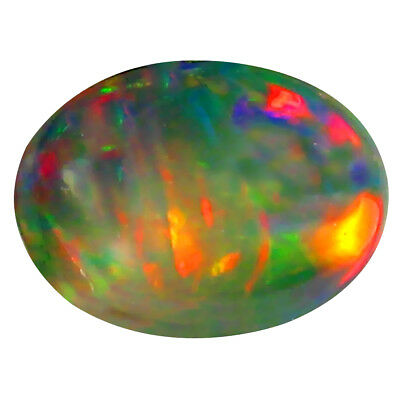 0.56 ct AAA Magnificent fire Oval Cabochon Shape (8 x 6 mm) Black Opal Stone