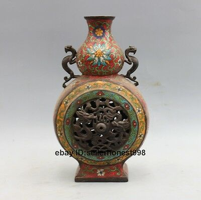 Chinese Feng Shui Bronze cloisonne Two Dragon play ball Gourd Vase