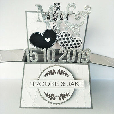 Handmade Name & Date personalized Wedding card, engagement card