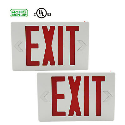 2pc Indoor Red LED Emergency Exit Light Sign Modern Battery Backup UL Listed