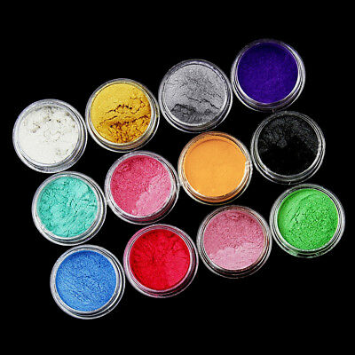 60g Pearl Pigment Powder Metal Sparkle Shimmer Paint 12 Colors Grit New
