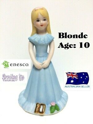 Enesco Growing Up Girls Figurine Age 10 Blonde Brand New In Box
