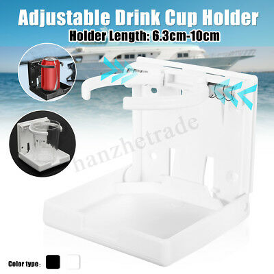 Adjustable White Folding Drink Cup Holder Mount For Boat Marine Caravan Car RV