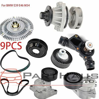 For BMW E36 E46 E39 X5 Water Pump Fan Clutch Thermostat Blade Pulley Kit 5pcs