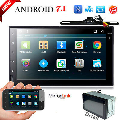 Android 7.1 Double 2Din Car Radio Stereo NO-DVD Player GPS Nav OBD 4G WiFI+Cam