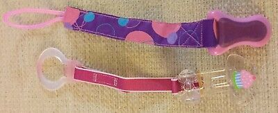 Girl Pacifier No Throw Clips Holders Lot Of 2