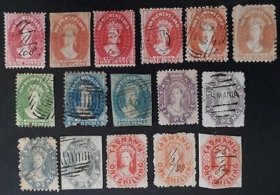 Rare 1857- Tasmania Australia Lot of 16 x Chalon Head Stamps Used Unchecked