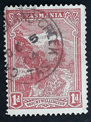 Rare 1904 Tasmania Australia 1d red Pictorial Stamp Used Garden Island Creek cd